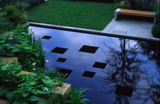 Water feature designed by Philip Nixon,                         gold winning Chelsea garden